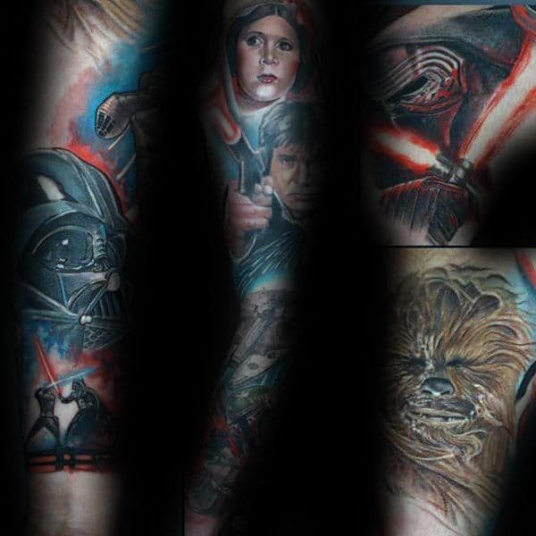 Guys Star Wars Themed Lightsaber Full Sleeve Tattoo