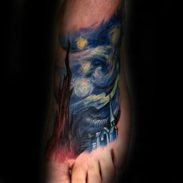 40 starry night tattoo designs for men painting ink ideas for Mens foot tattoos