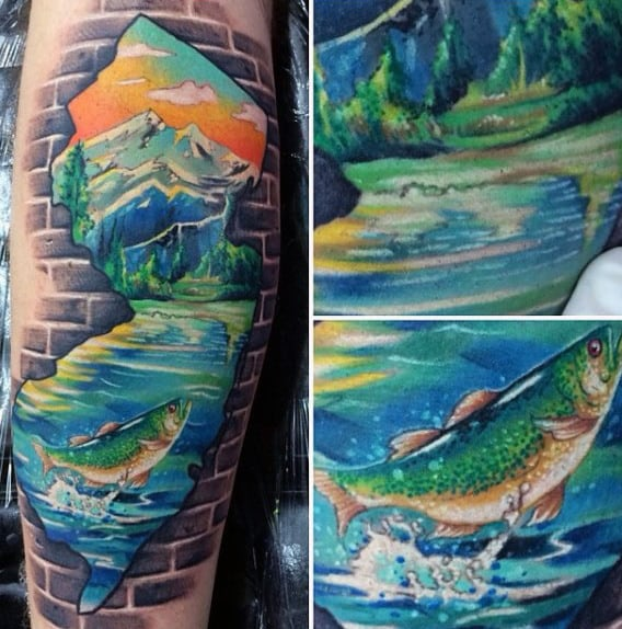 Guys State Landscape Fish In River Tattoo