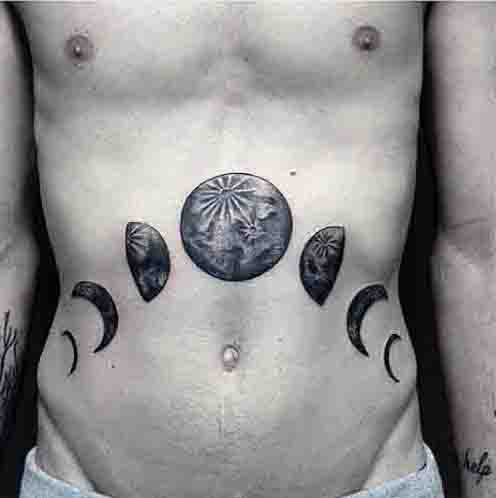 Guys Stomach Moon Phase Tattoo Design