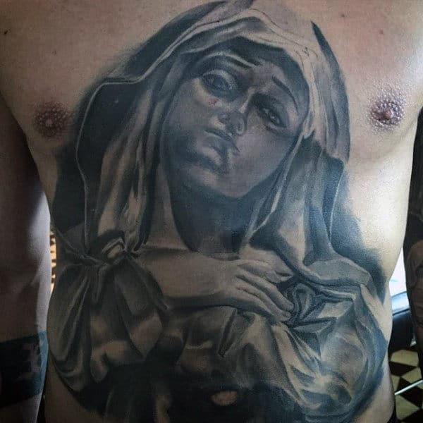 Guys Stomach Tattoo Of Virgin Mary