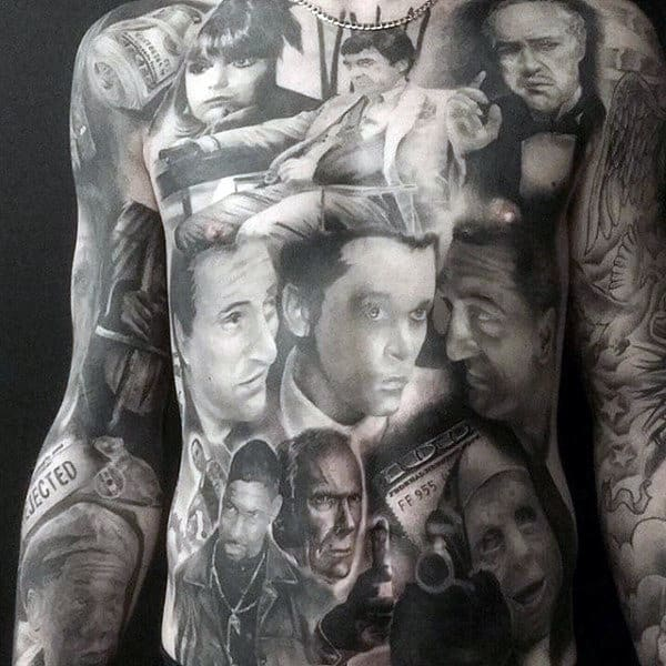 Guys Stomach Tattoo With Potraits Of Faces