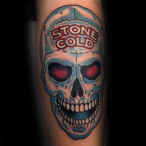 Guys Stone Cold Skull Tattoo Ideas Wrestling Designs On Leg