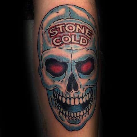 Guys Stone Cold Skull Tattoo Ideas Wrestling Designs On Leg
