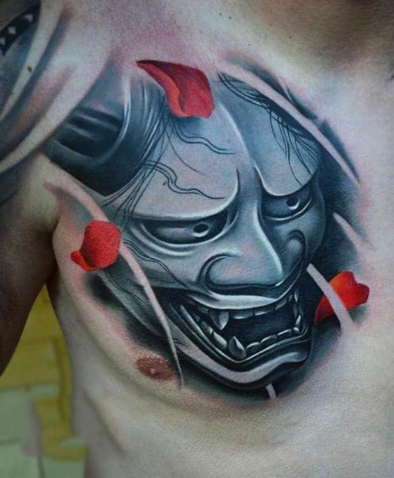 Guys Stylist Samurai Mask And Rose Petal Chest Tattoo