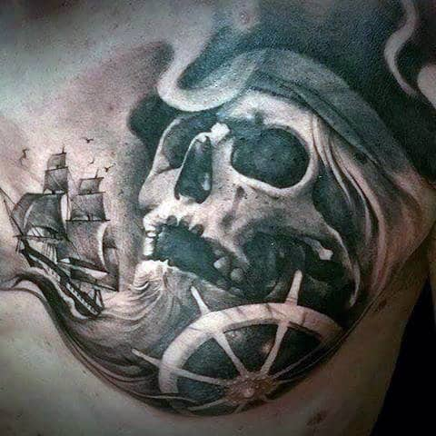 Guy's Sunken Pirate Ship Tattoo On Chest