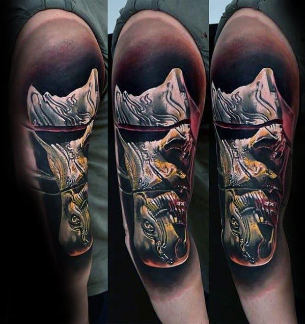 Guys Surrealism Half Sleeve Tattoo Design Ideas