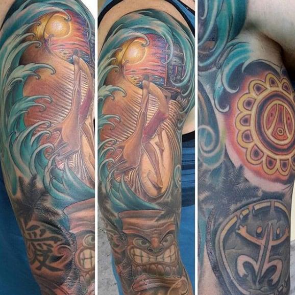Guys Taino Sleeve Tattoo Design Ideas