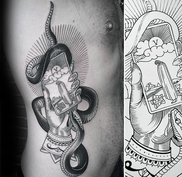 Guys Tarot Tattoo Design Ideas On Rib Cage Side