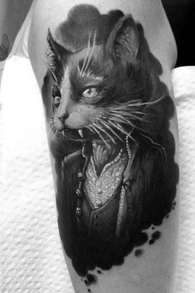 Guys Tattoo Cat On Arm