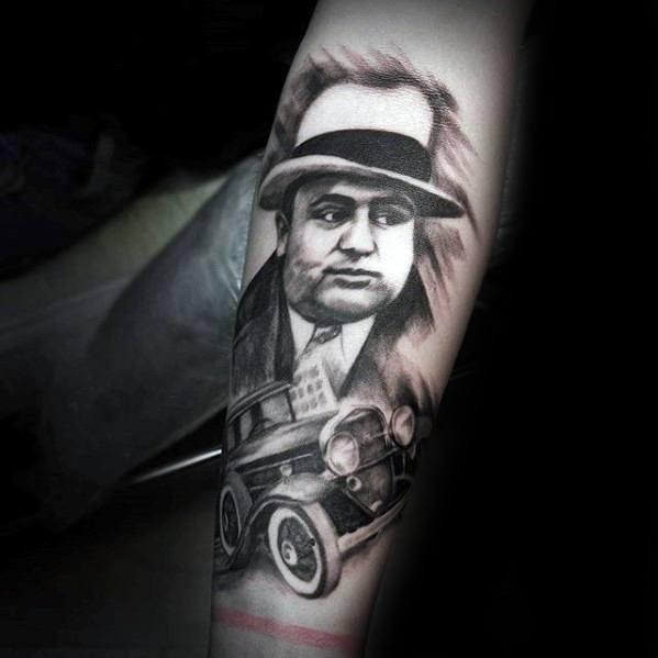 Guys Tattoo Forearm Ideas Al Capone Designs