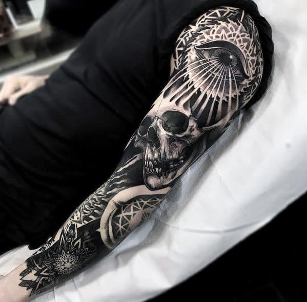 Guys Tattoo Full Sleeve Ideas Badass Skull Designs
