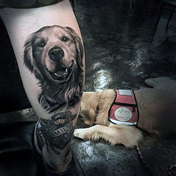 Guys Tattoo Golden Retriever