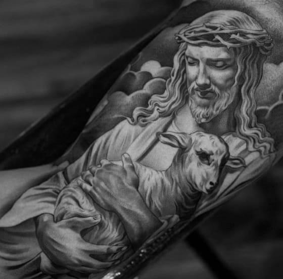 Guys Tattoo Ideas 3d Jesus Holding Lamb Designs On Inner Arm