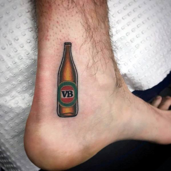 Guys Tattoo Ideas Beer Bottle Small Designs On Ankle Of Foot