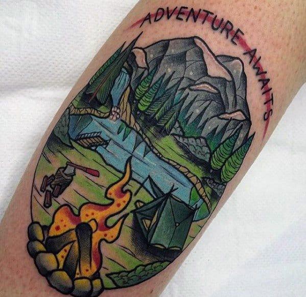 Guys Tattoo Ideas Campfire Designs