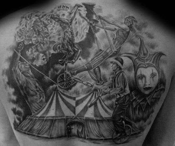 Guys Tattoo Ideas Circus Designs On Upper Back