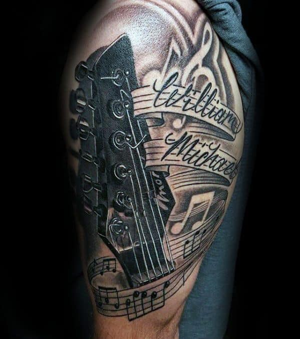 50 music staff tattoo designs for men musical pitch ink ideas. Black Bedroom Furniture Sets. Home Design Ideas