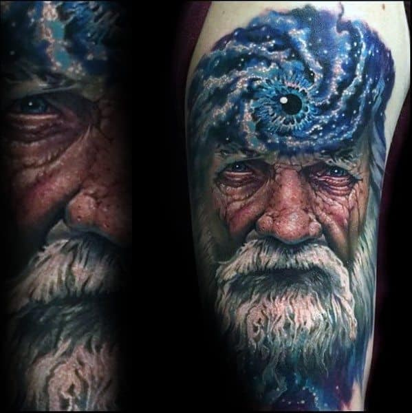 Guys Tattoo Ideas Outter Space Portrait Consciousness Designs On Arm