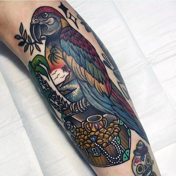 Guys Tattoo Ideas Parrot With Treasure Chest Leg Designs