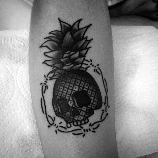 Guys Tattoo Ideas Pineapple Skull Themd Leg Designs