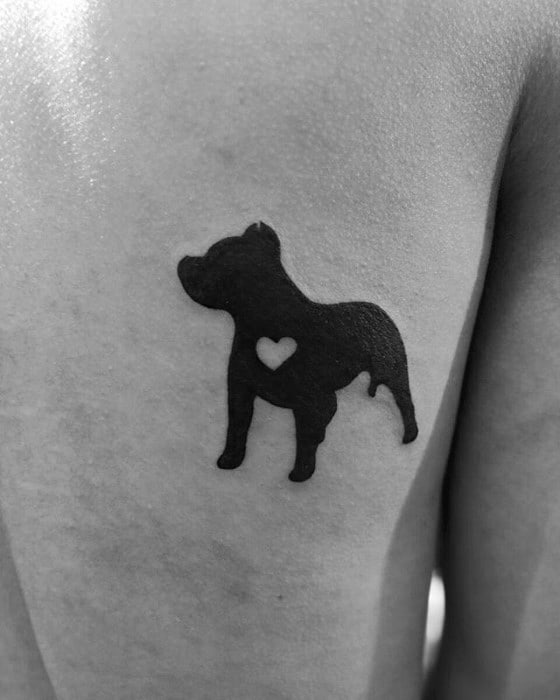 Guys Tattoo Ideas Pitbull With Negative Space Heart Designs On Back