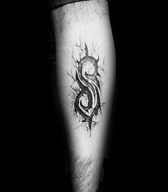 Guys Tattoo Ideas Slipknot Designs On Back Of Leg