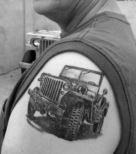 80 Jeep Tattoos For Men Automotive Design Ideas