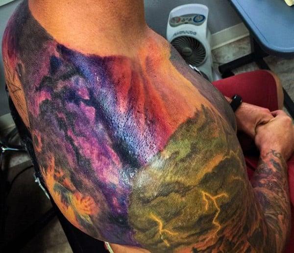 Guys Tattoo Lightning Bolt On Back