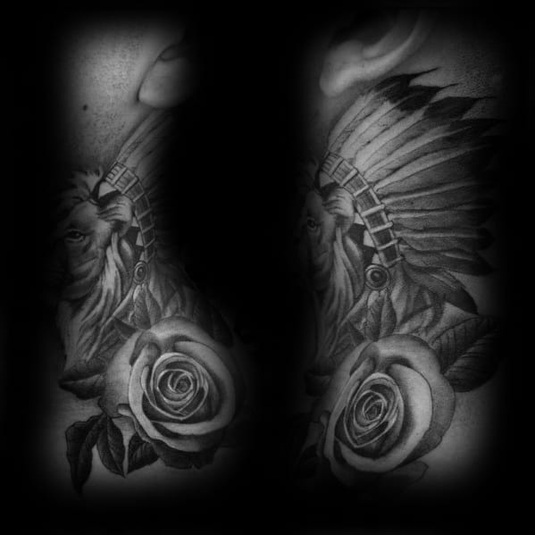 Guys Tattoo Lion Neck