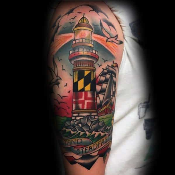 Guys Tattoo Maryland Flag