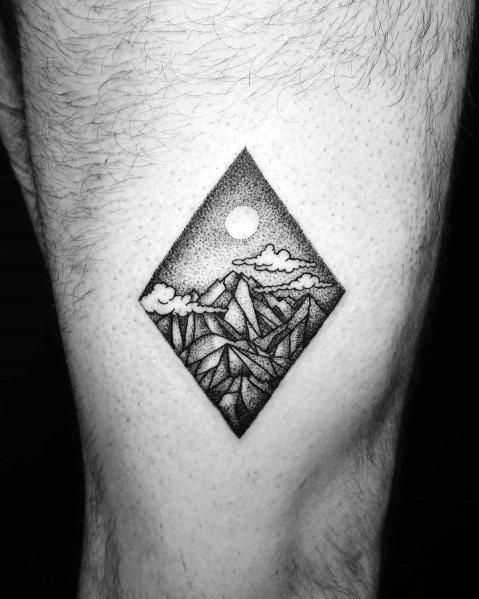 Guys Tattoo Minimalist Mountain