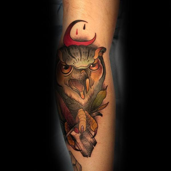 Guys Tattoo Neo Traditional Owl
