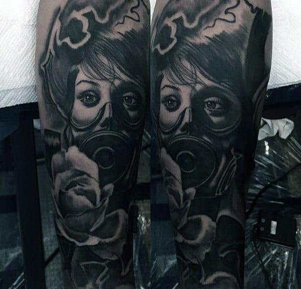Guys Tattoo Of Woman Wearing Gas Mask Full Sleeve