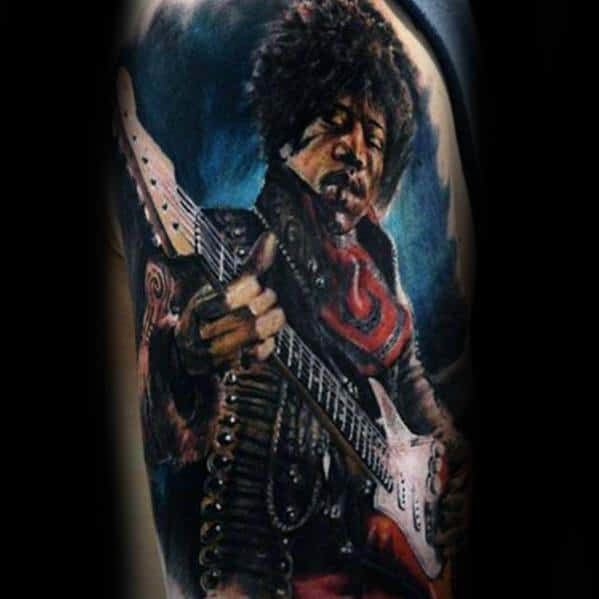 Guys Tattoo Realistic 3d Ideas Jimi Hendrix Designs