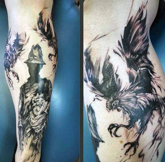 Guys Tattoo Silhouetted Man And Roosters Calf Piece In Black Ink