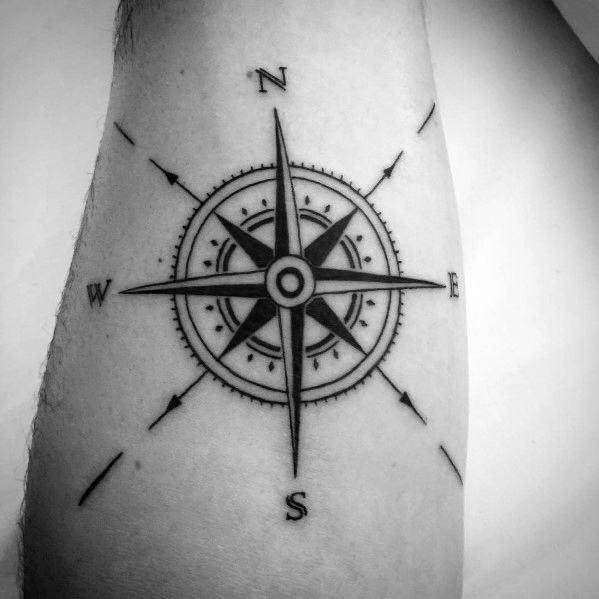 Guys Tattoo Simple Compass