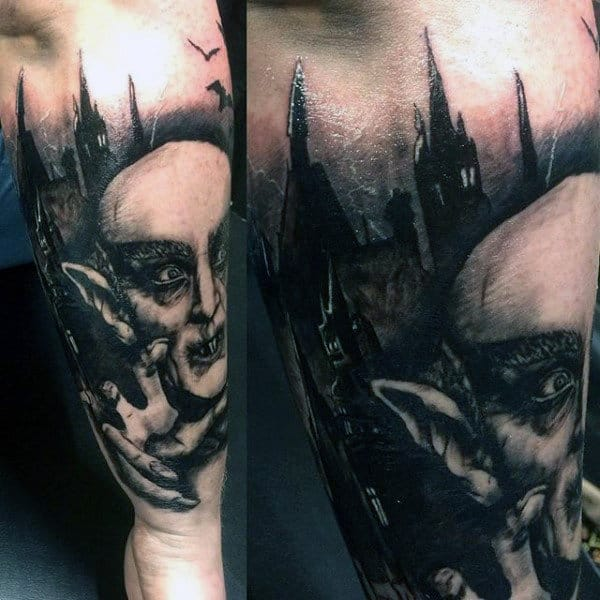 Guys Tattoo With Vampire And Castle Design On Forearm