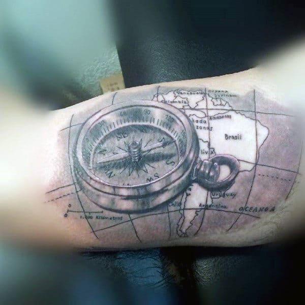 Guys Tattoo World Map Ideas