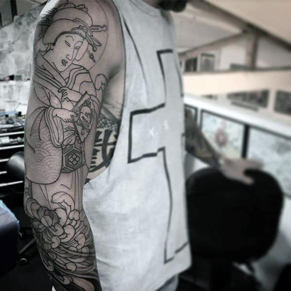 Guys Tattoos Full Arm Sleeve With Outline Design