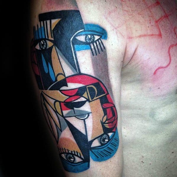 Guys Tattoos On Arm With Cubism Design