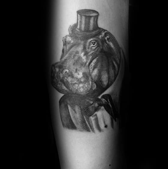 Guys Tattoos On Inner Forearm With Hippo Wearing Top Hat Design
