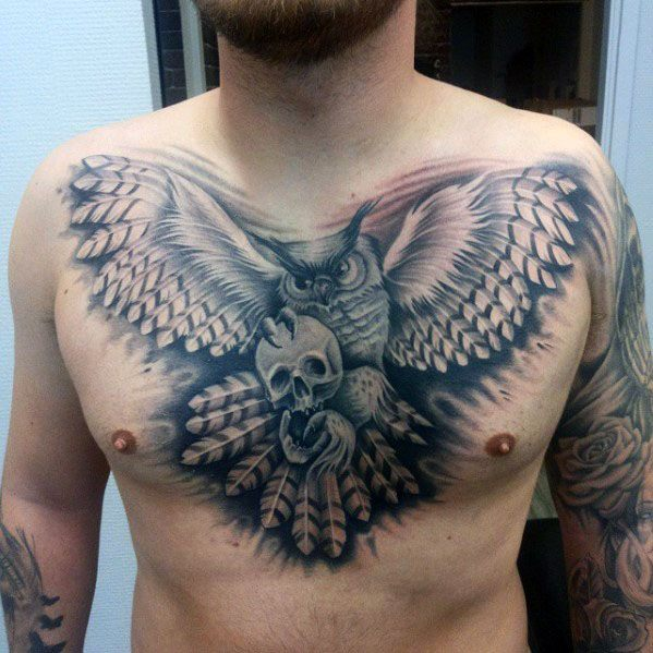 Guys Tattoos With 3d Realistic Owl Skull Design On Chest