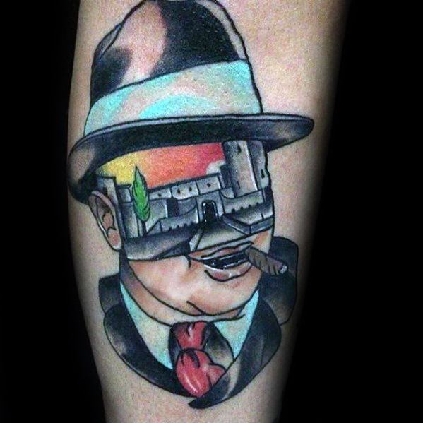 Guys Tattoos With Al Capone Design