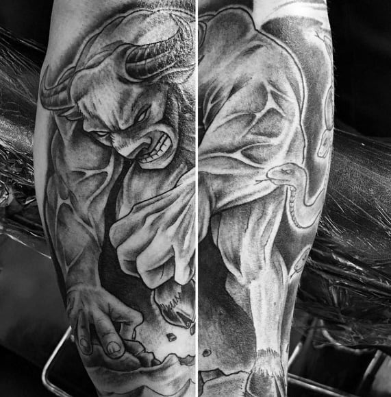 Guys Tattoos With Angry Minotaur Design On Leg