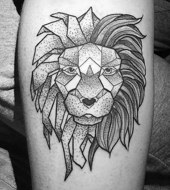 Guys Tattoos With Arm Geometric Lion Design