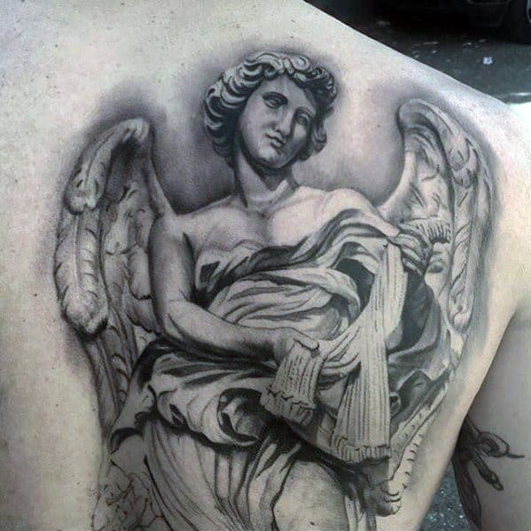 Guys Tattoos With Awesome Angel Statue 3d Realistic Back Design
