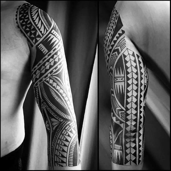 Guys Tattoos With Awesome Full Arm Sleeve Tribal Design