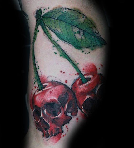 Guys Tattoos With Badass Skull Cherries Design