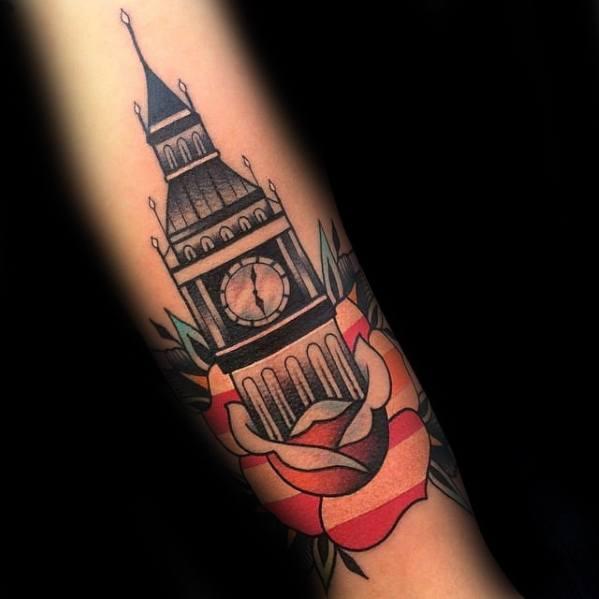 Guys Tattoos With Big Ben Rose Flower Forearm Design